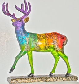 """Deerpark Chakra"" embellished resin deer statue-colored tissue/acrylic paint/jewels by Alyta Adams"